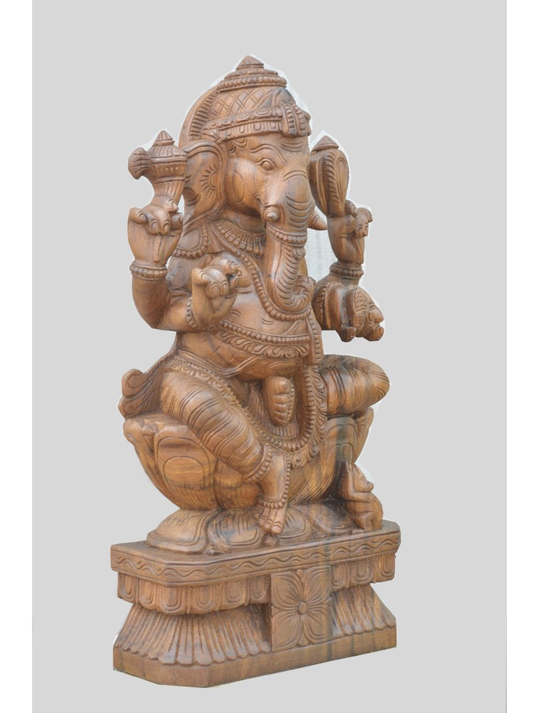 Wooden Ganesha Statue With Wax Brownish Finish