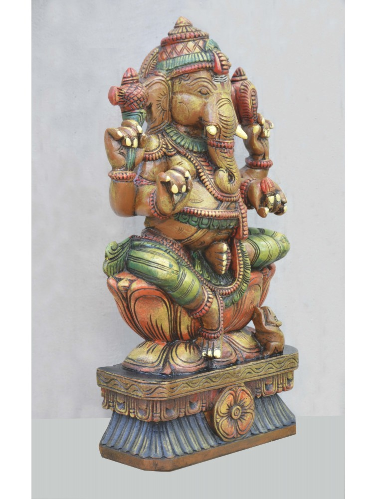 Multicolored Wooden Ganapathi Deity