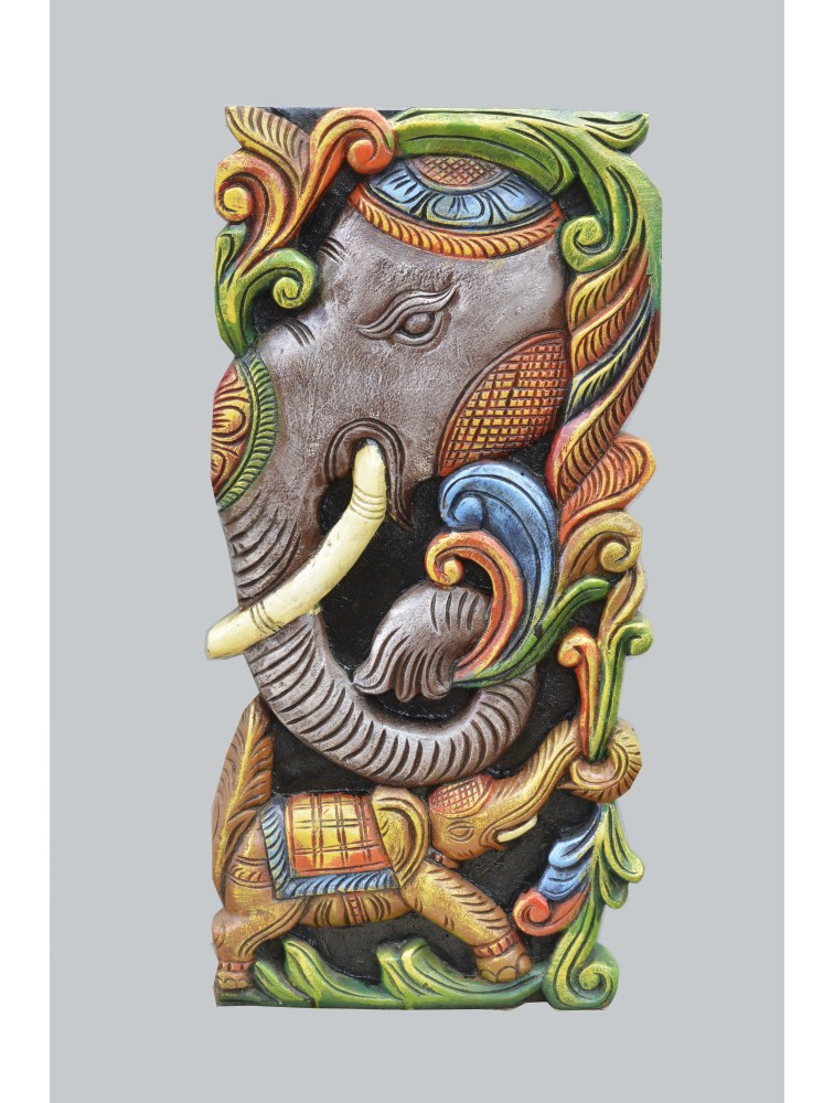 Elephant Head Wooden Wall Relief