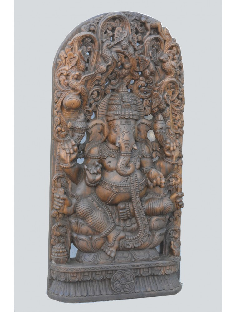 Wooden Jolly Work Statue of Lord Ganapathi