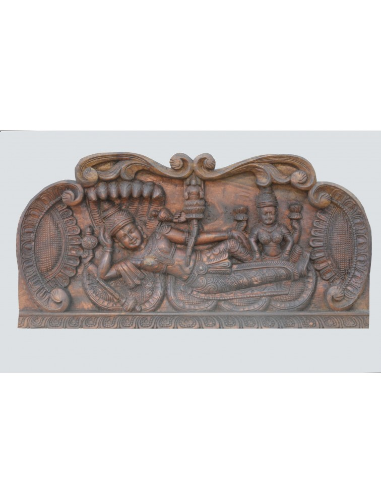 Wooden Wall Mount of Lord Ranganathar with Goddess Lakshmi
