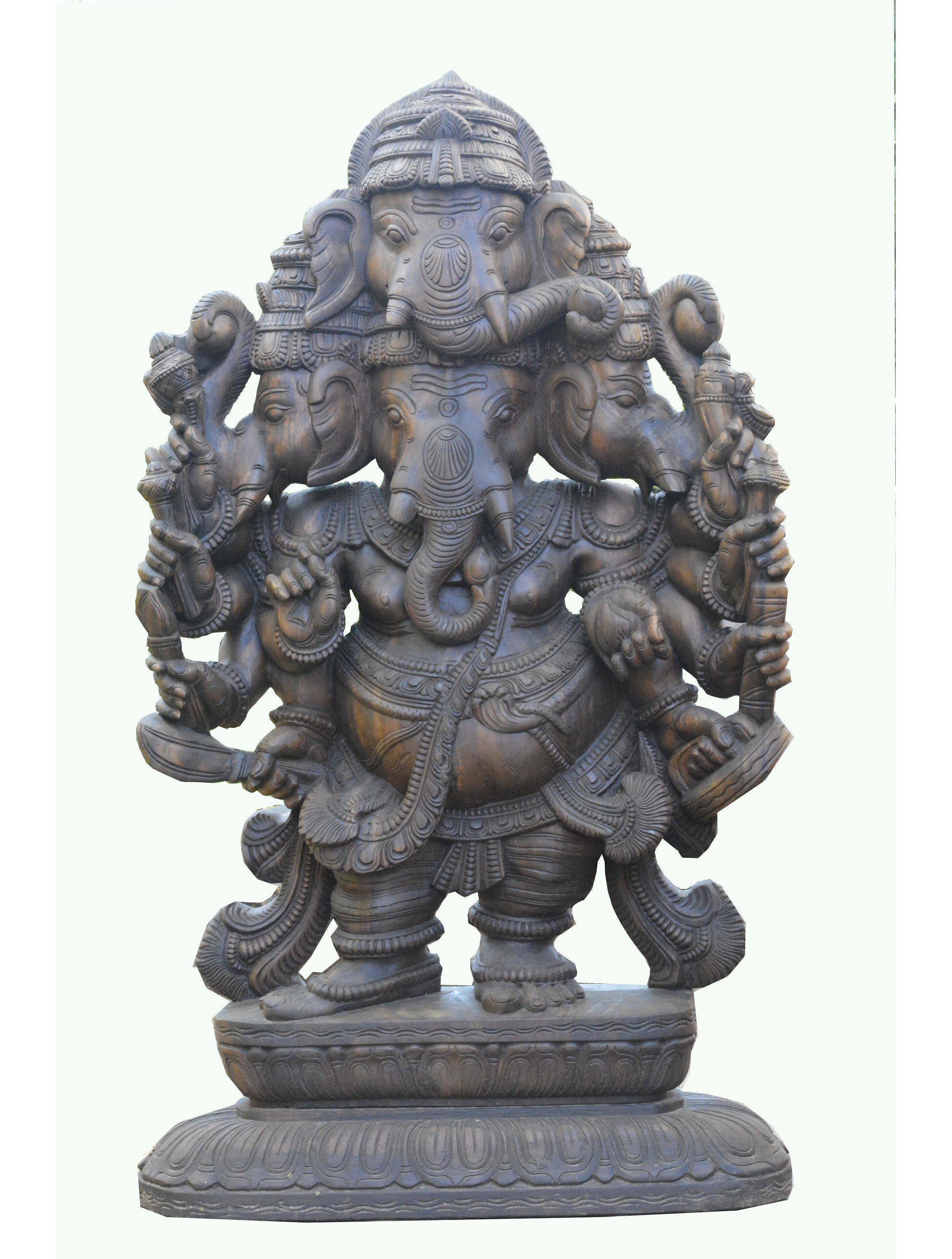 Wooden Scuipture of Panchamukhi Ganesh