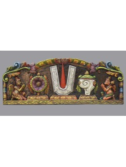 Multicolored Ram,Conch and Chakra Wooden Wall Mount