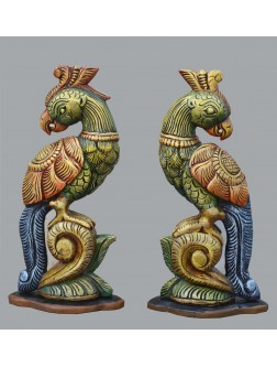 Multicolored Table Top Wooden Pair of Parrot