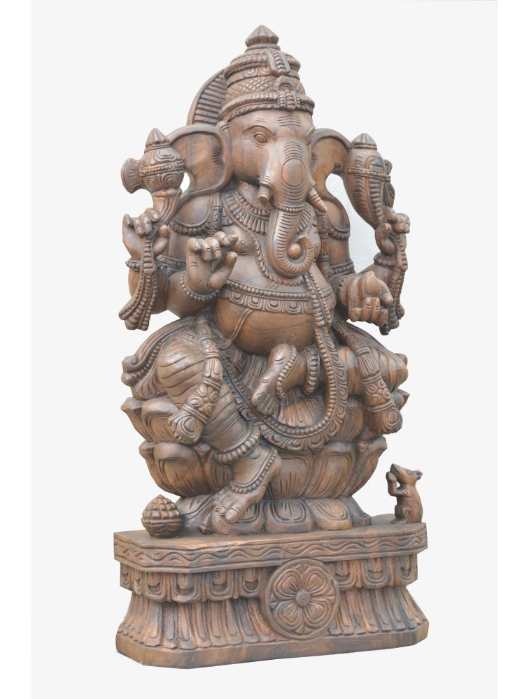 Handcarved Wooden Statue of RajaGanapathi