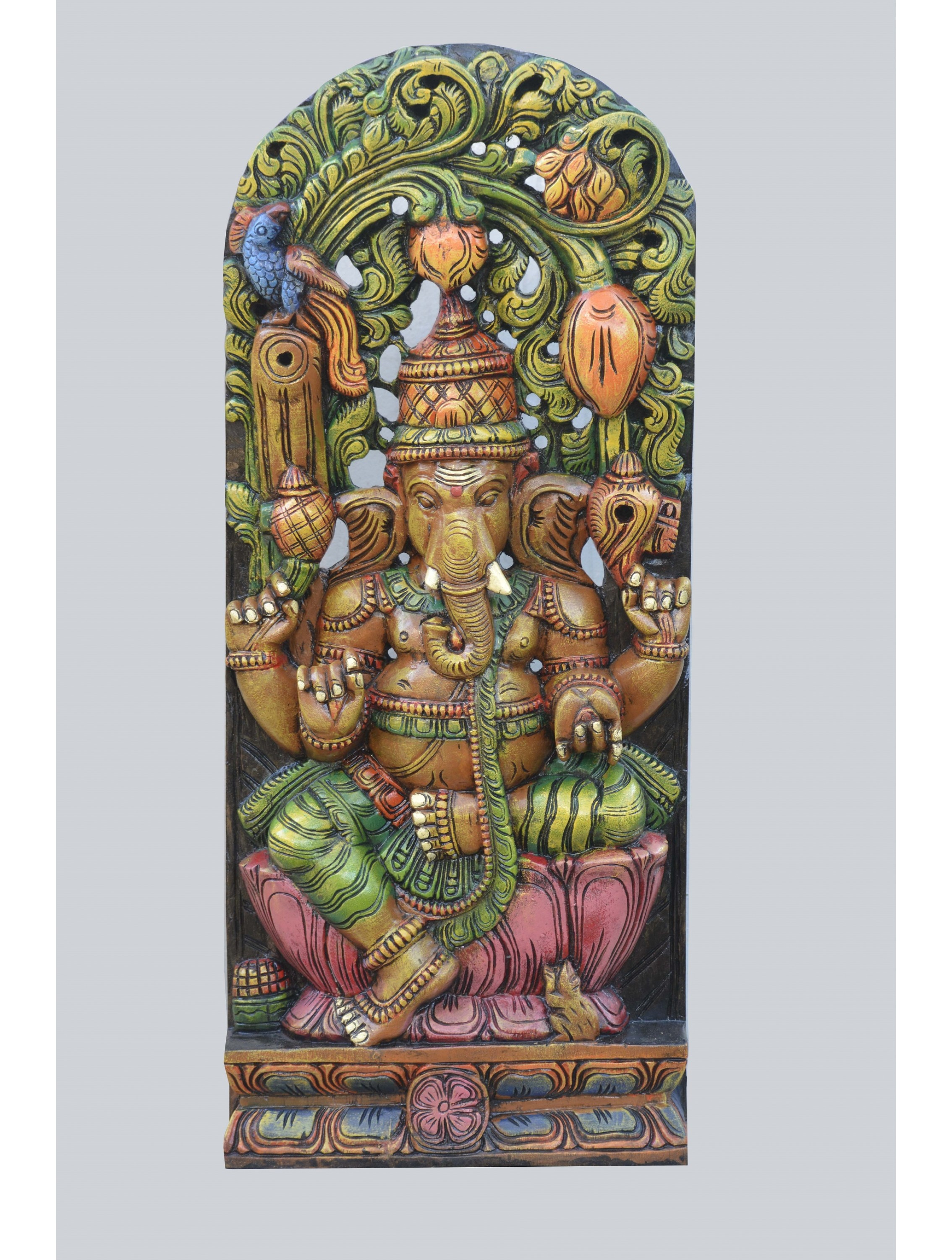 Lord Ganesh Seated on Lotus Under Tree