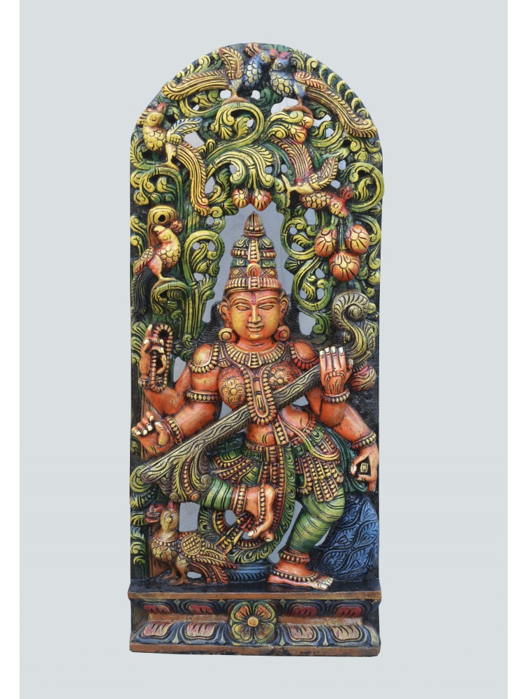 Knowledge Goddess Saraswathi Playing Veena Wooden Sculpture