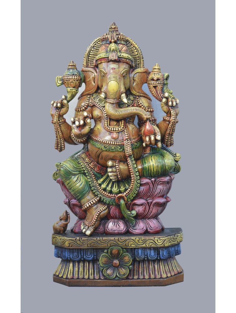 Multicolored Ganesh Seated On Pink Lotus