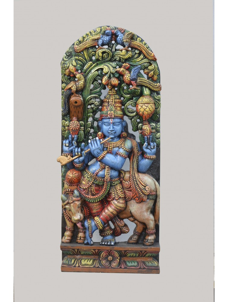 Multicolored Flute Krishna Wooden Sculpture