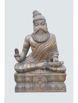 Wooden Statue of Thiruvalluvar Holding Palm Script