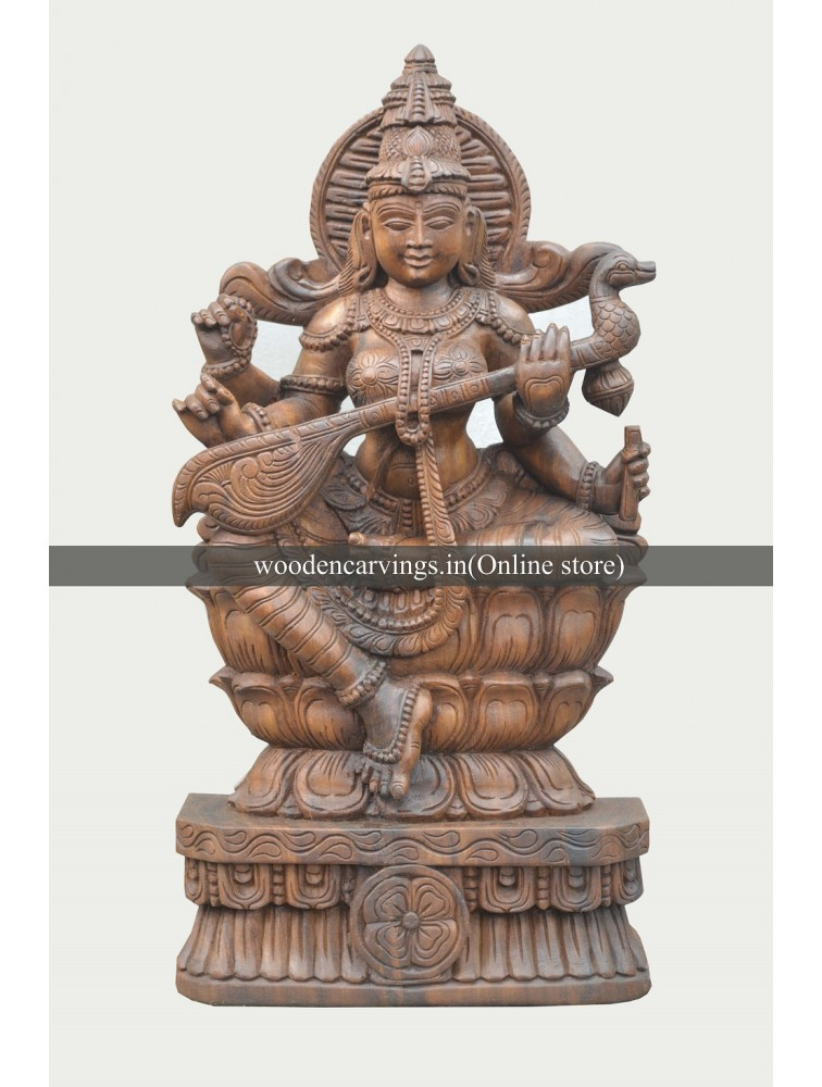 Wooden Double Lotus Seated Goddess Saraswathi Sculpture