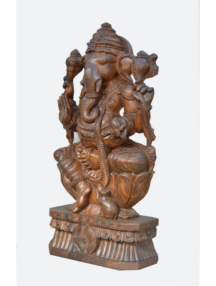 Hindu God Lord Ganesh Wooden Sculpture