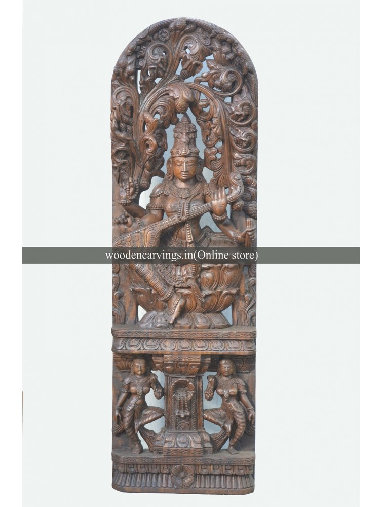 Large size Goddess Saraswathi Playing Veena Wooden Sculpture