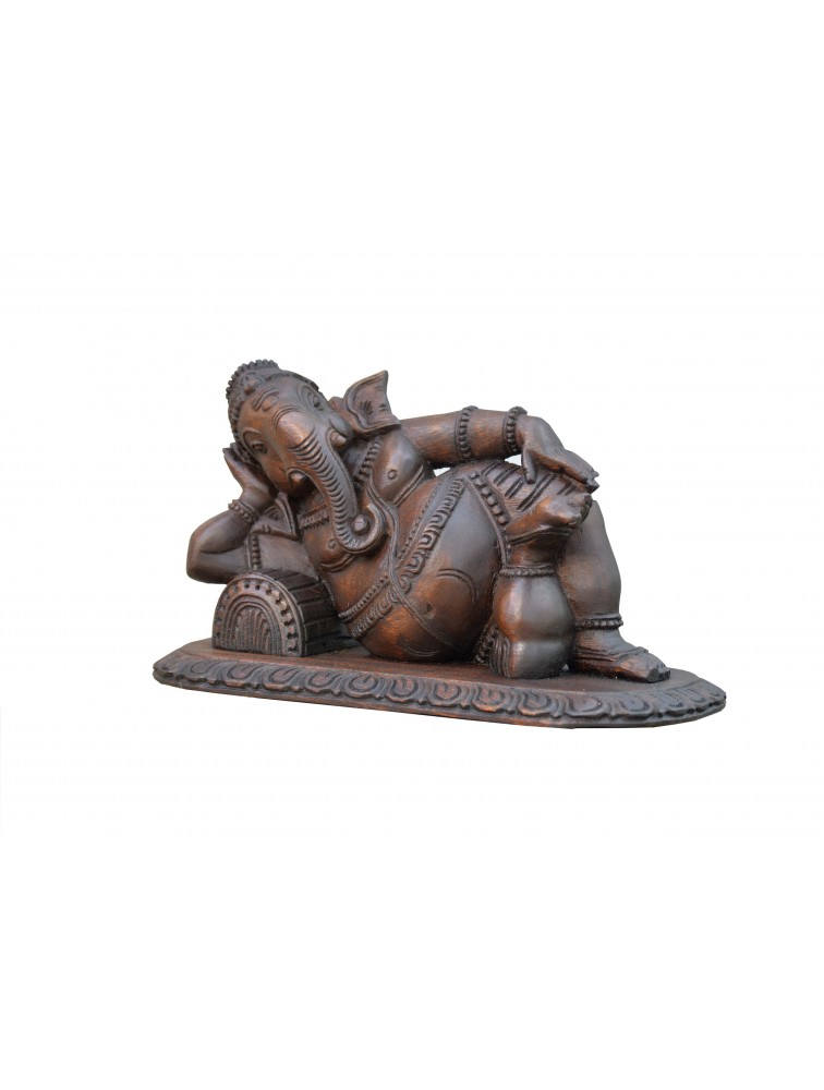 Reclining Ganesha Wooden Idol