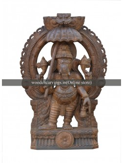 Wooden Sculpture Of Bridgegroom Ganesha With Arch Design