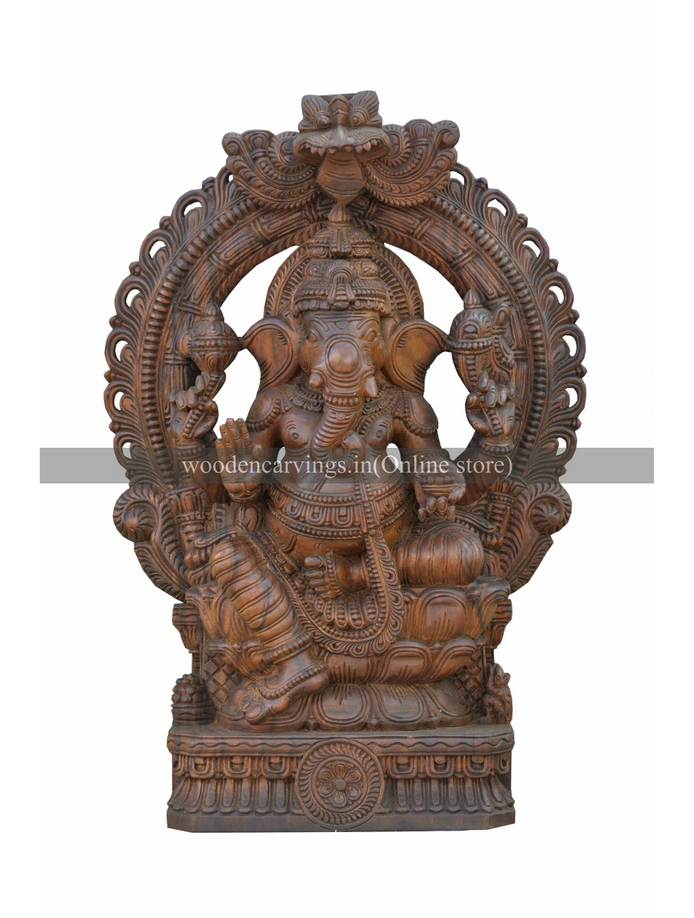 Abhaya Mudra Ganesh Seated On the Lotus Wooden Sculpture