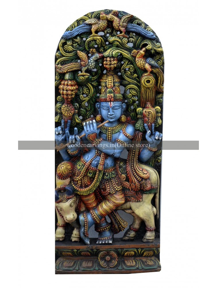 Wooden Jolly Work Sculpture Of Lord Krishna