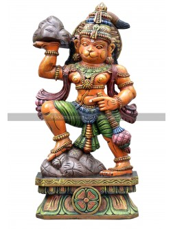 Lord Hanuman Lifting Sanjeevani Mountain Wooden Sculpture