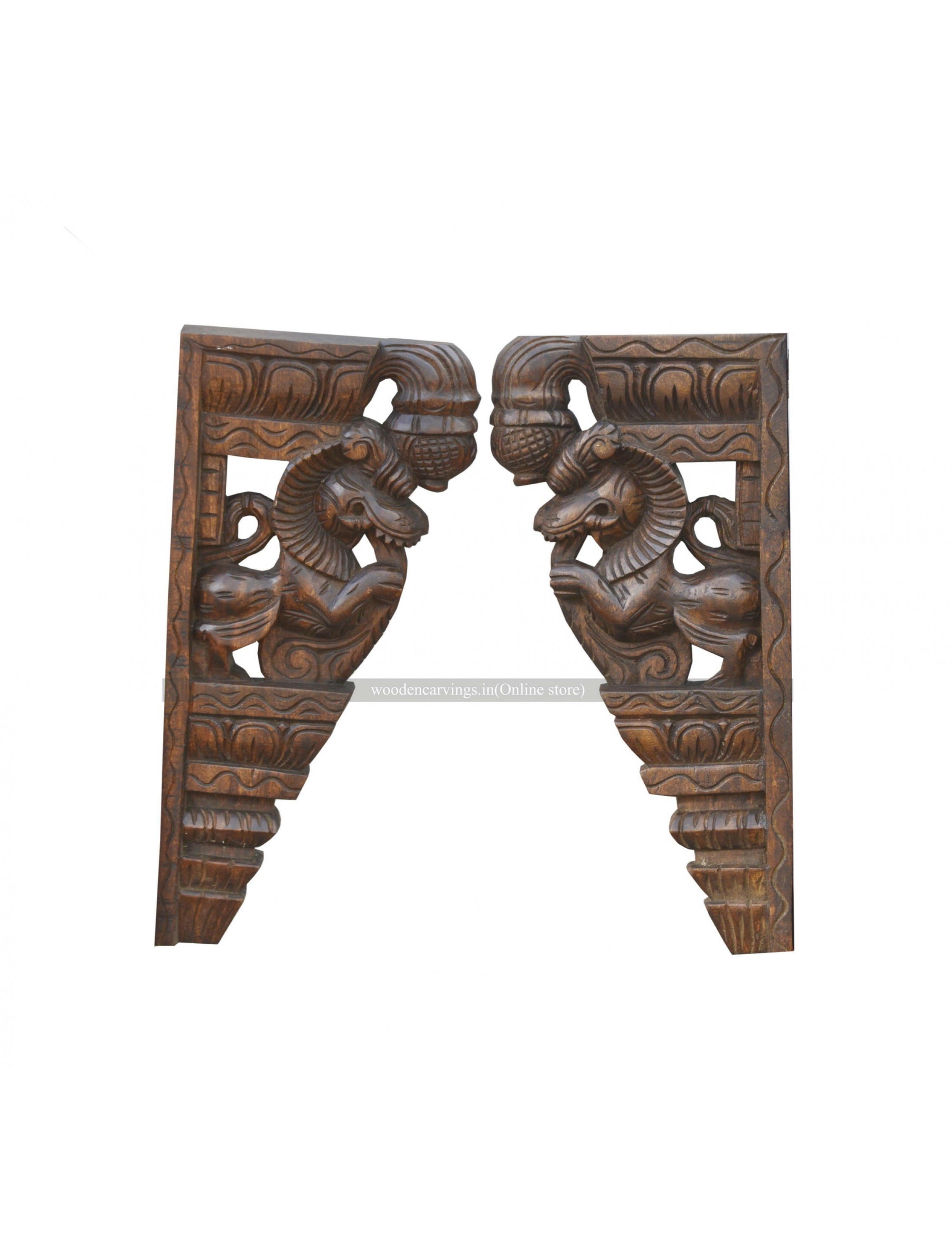 Wooden Pair of Yali Brackets
