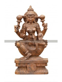 Wooden Sculpture Of Goddess MahaLakshimi