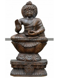 Lord Buddha Grants Blessing Wooden Sculpture