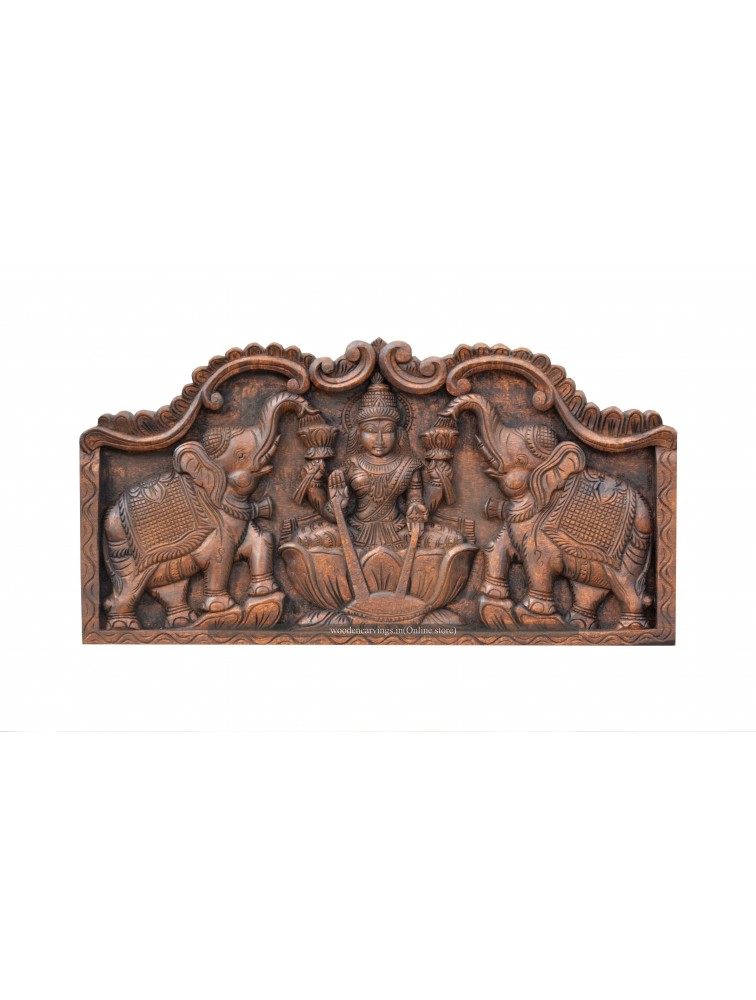 Goddess AshtaLakshmi Wooden Wall Mount Panel