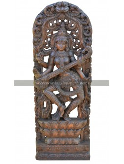 Goddess Saraswathi on Lotus Wooden Jolly Work Sculpture