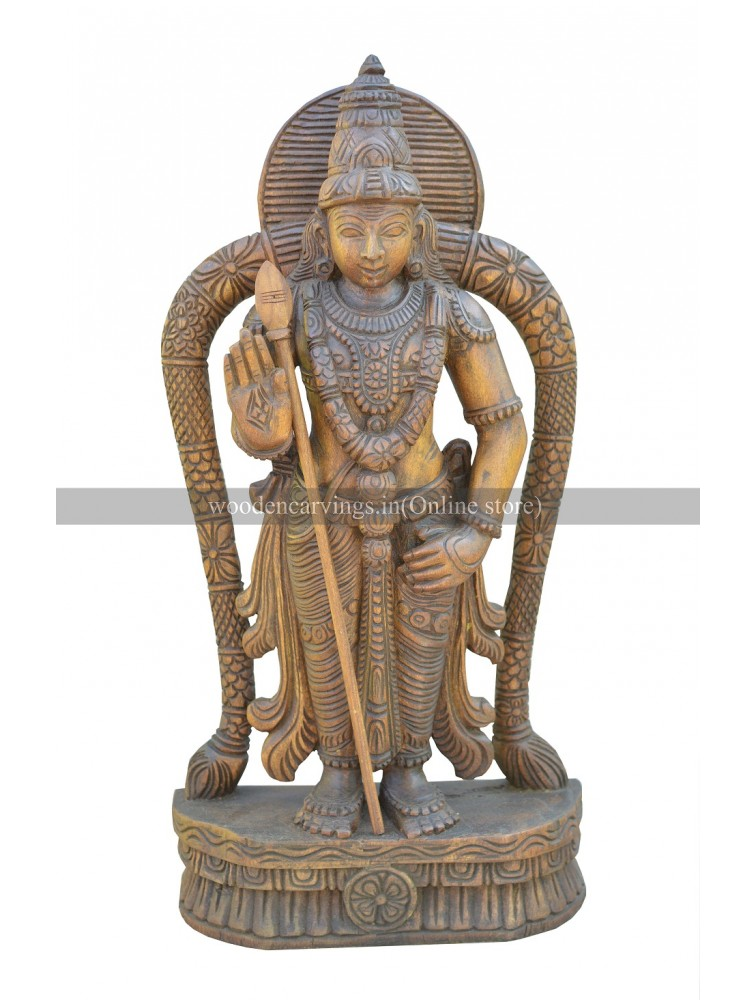 Wooden Sculpture of Lord Murugan(Karthikeyan)