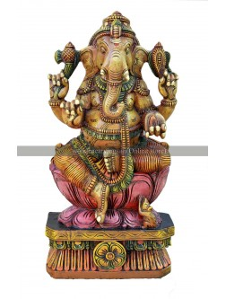 Buy An Multicolored Wooden Ganesh Murti Seated On Pink Lotus