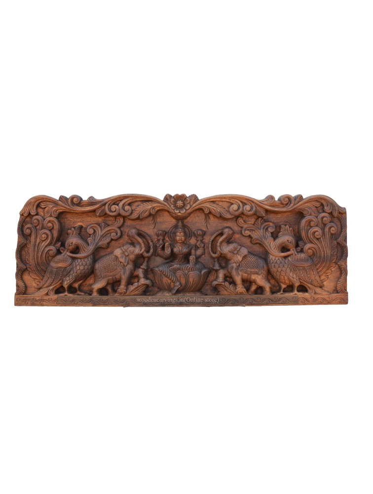 Handcarved Wooden Panel of Gajalakshmi With Hamsa Design