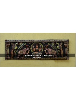 Multicoloured Wooden Wall Panel of Gaja Lakshmi