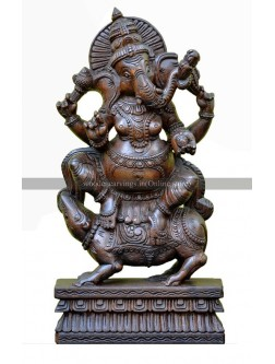 Dark Browned Wooden Sculpture of Lord  Ganesha