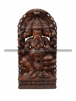 Buy An Large Size Three Headed Wooden Ganesh Sculpture