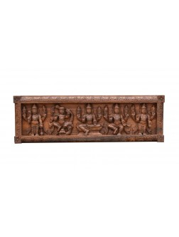Horizontal Wooden Wall Mount Panel Of Lord Vishnu