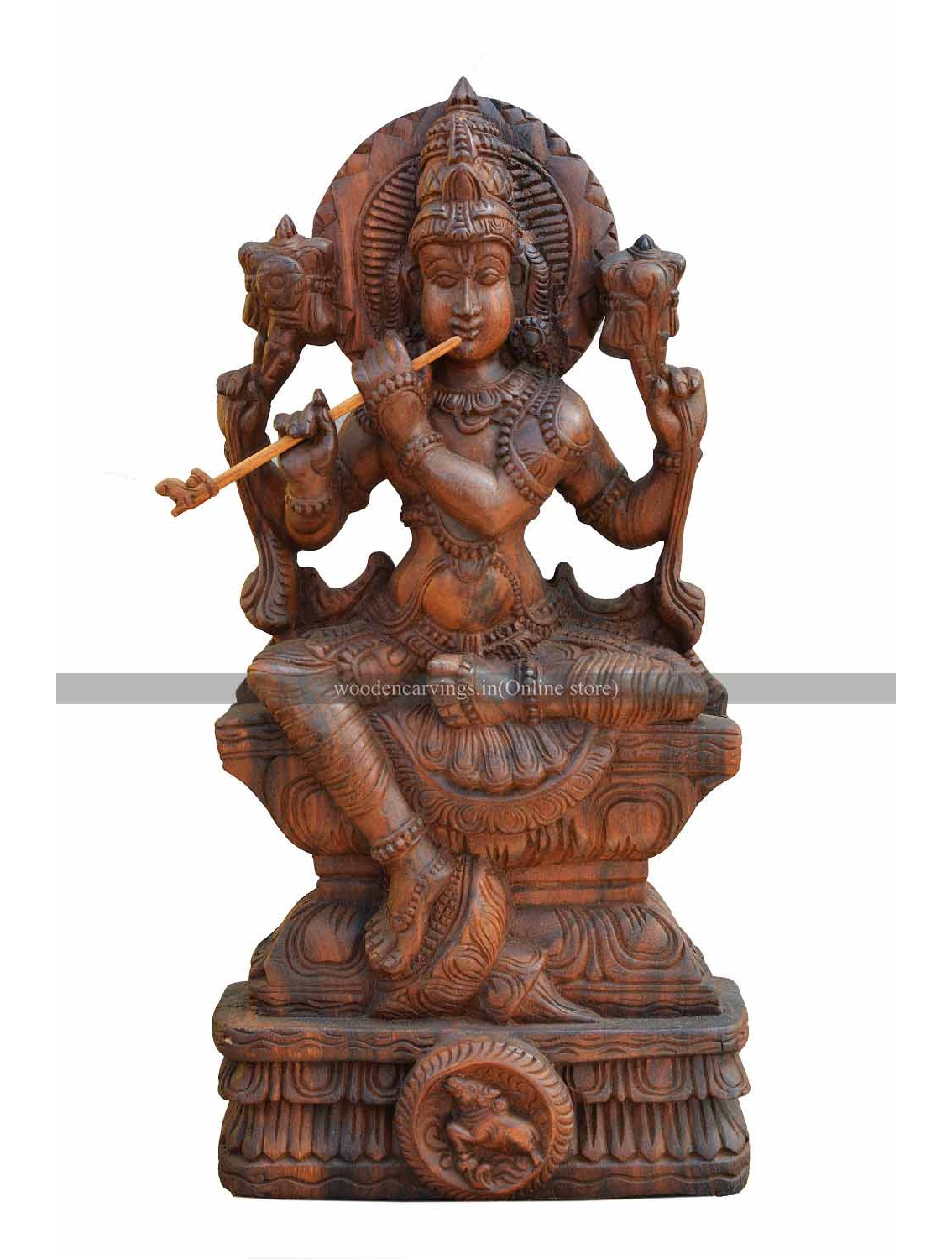 Seated Basuri  Krishna Wooden Sculpture