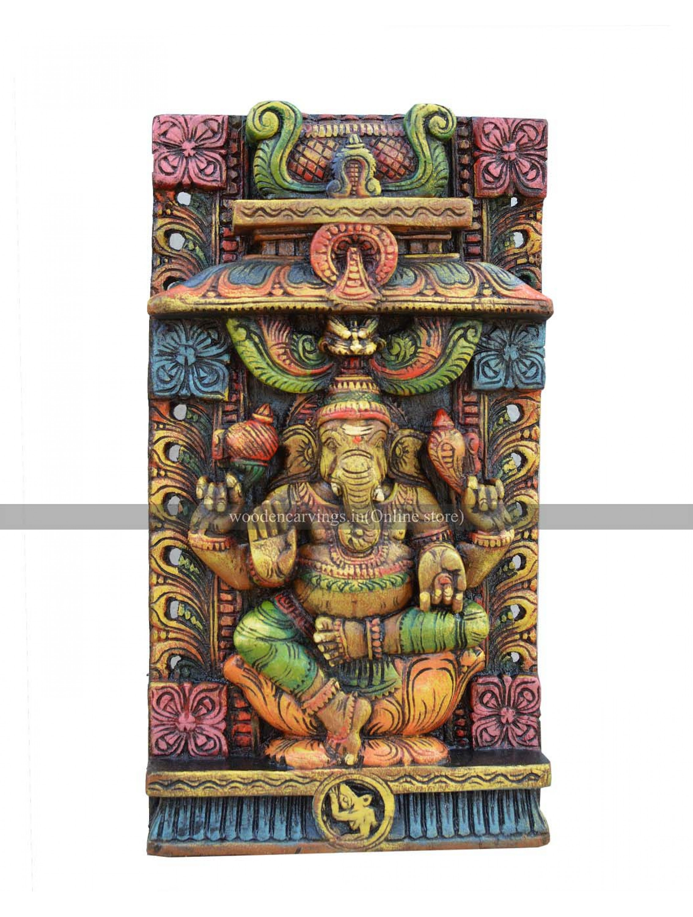 Multicolored Wall Mount of Lord Ganesha