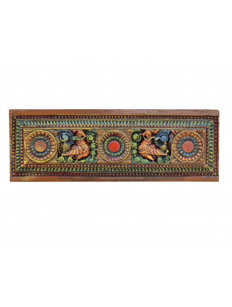 Multicolored Detailed Teak Wood Wall Panel