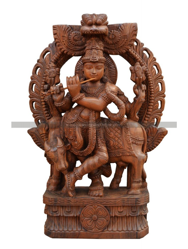 Buy An Wooden Statue Of Krishna With Arch