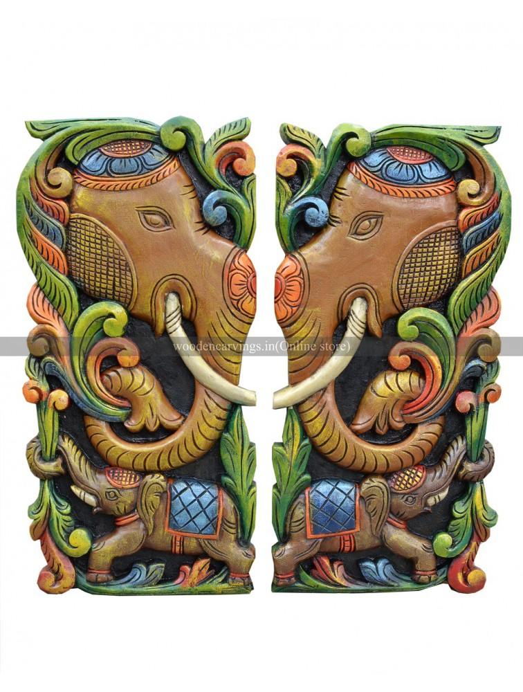 Multicolored Elephant Head Wooden Wall Relief