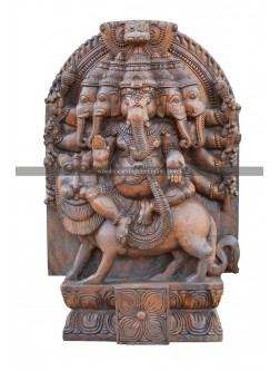 Five Headed Ganesha Seated On the Shima vahana Wooden Sculpture