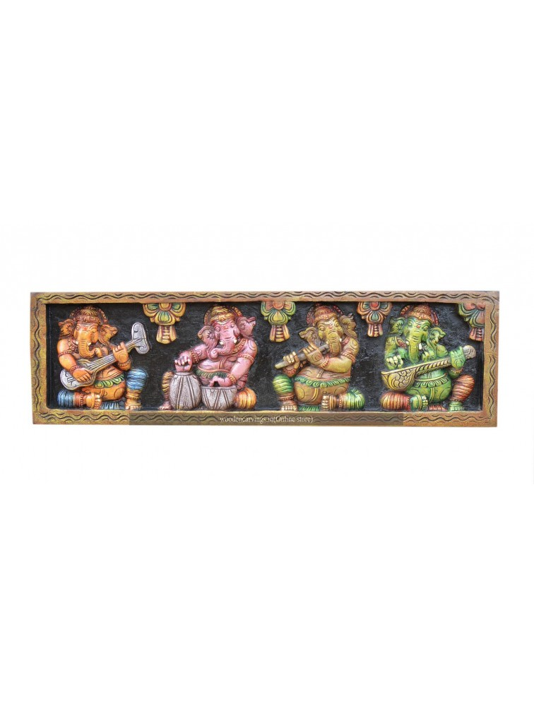 Vibrant Coloured Musical Ganesha Wall Mount