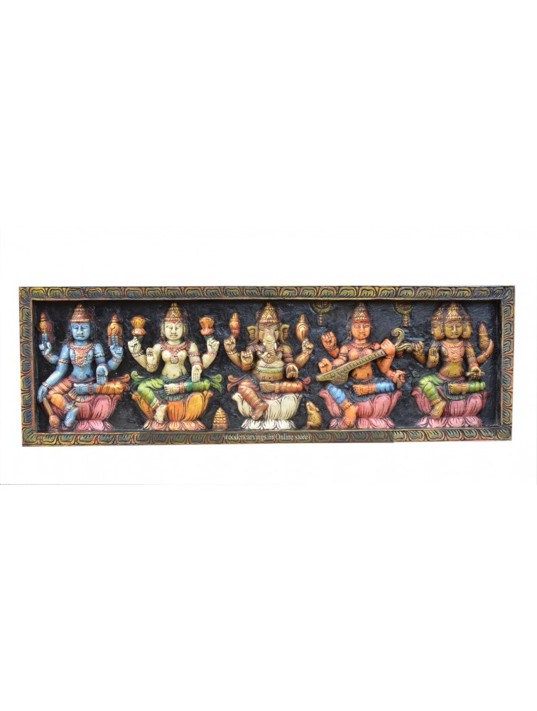 Hindu Gods and Goddess Wood Wall Mount Panels