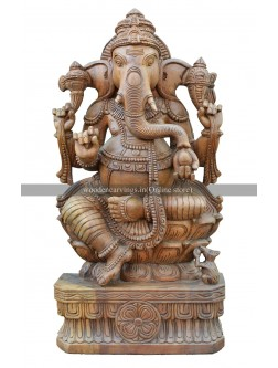 Buy An Charming Wooden Handcarved Ganesha Idol