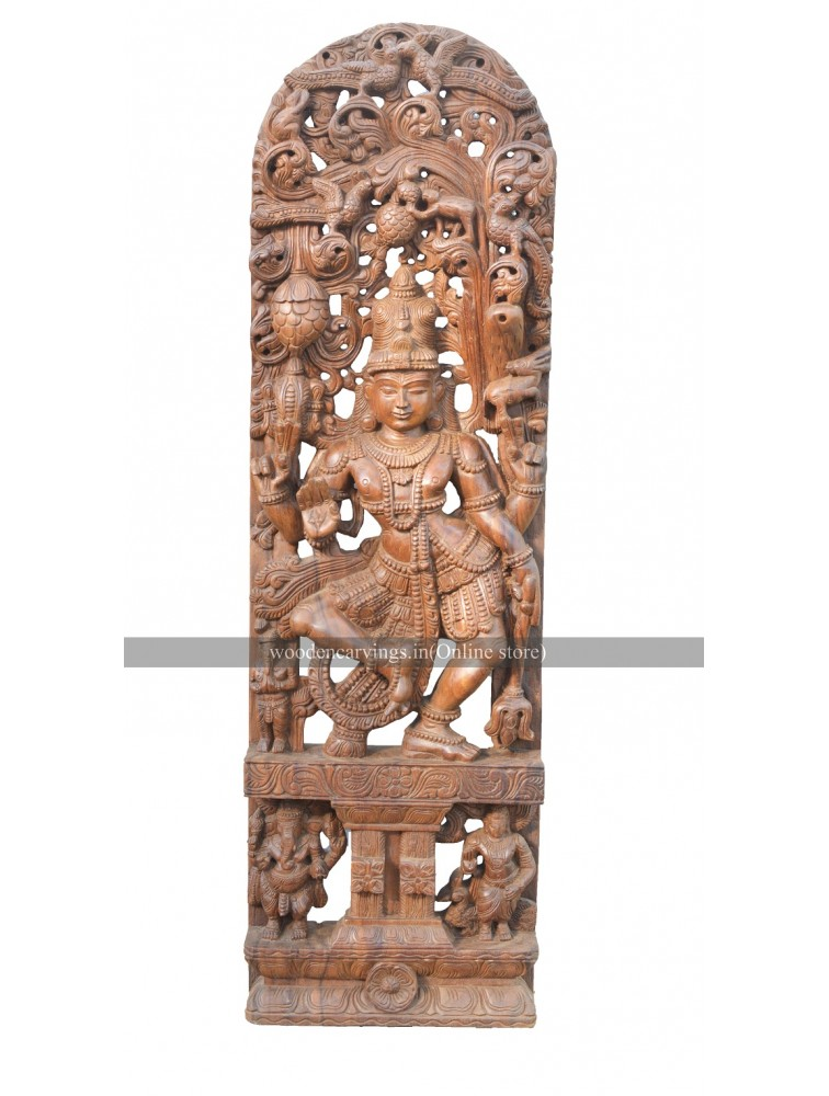 Buy An Large Size Wooden Jolly Work Sculpture Of Lord Shiva