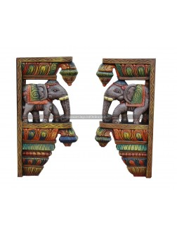 Multicolored Wooden Elephant Wall Brackets