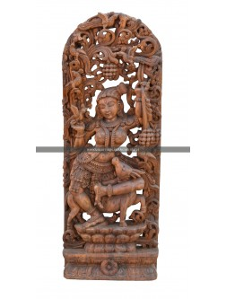 Wooden carving of Apsara With Deer