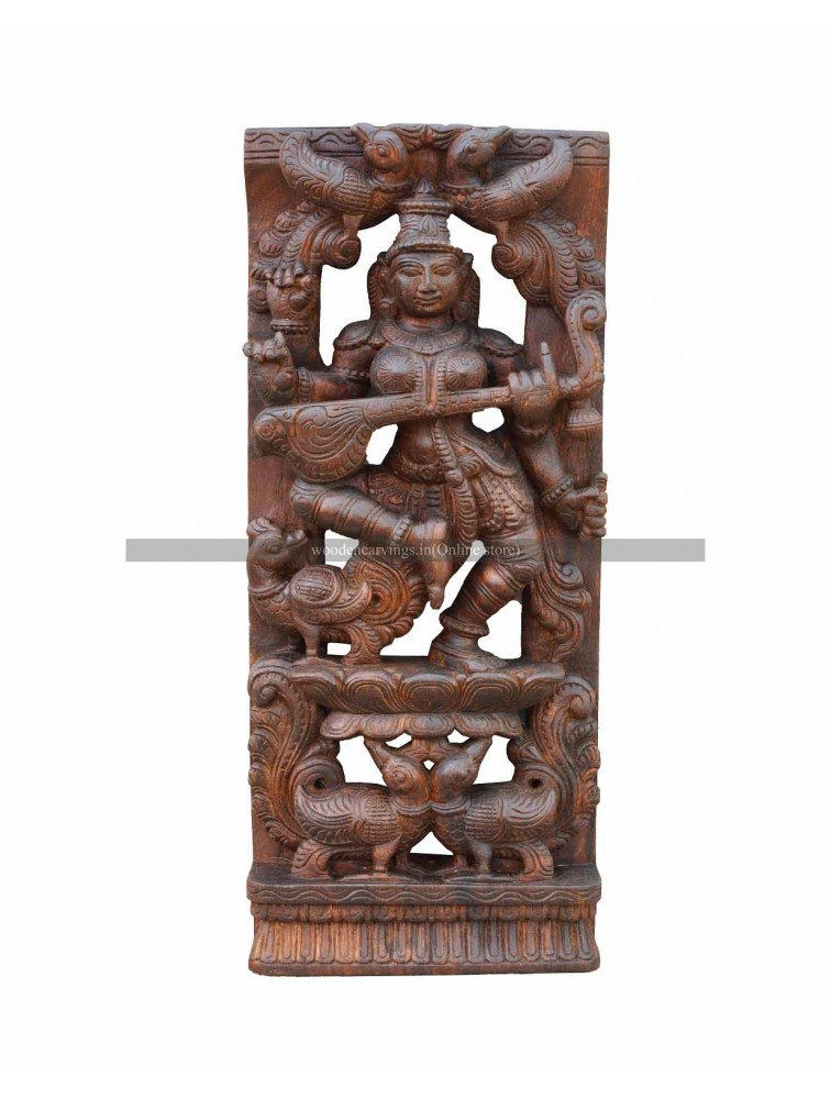 Wooden Wall Mount Of Goddess Saraswathi