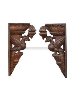 Wooden Pair Of Parrot Wall Mount Brackets