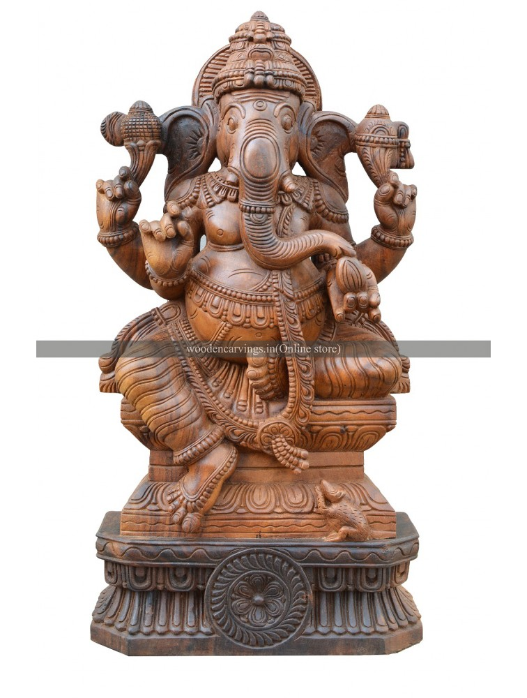 Hindu God Lord Ganesha Seated On Padhma Pedam Wooden Deity