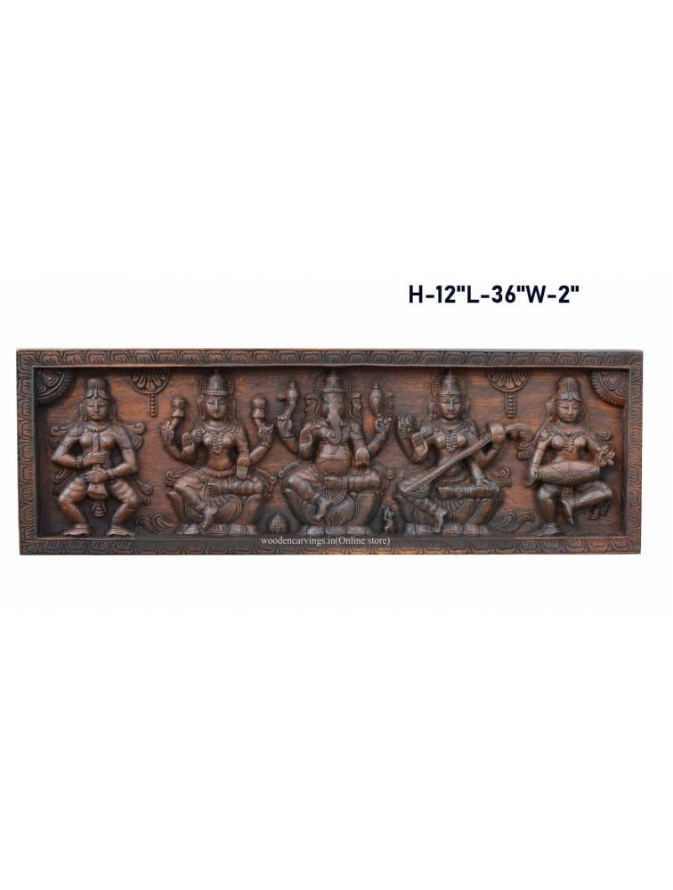 Ganesha,Lakshmi, and Saraswathi With Sevagar's Wooden Panel